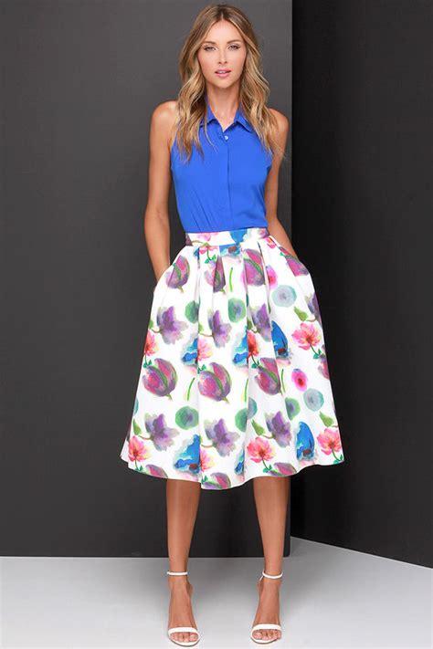 chic ivory skirt floral print skirt midi skirt scuba