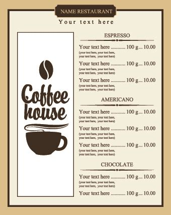 menu pricing template coffee price list menu vector vector cover free