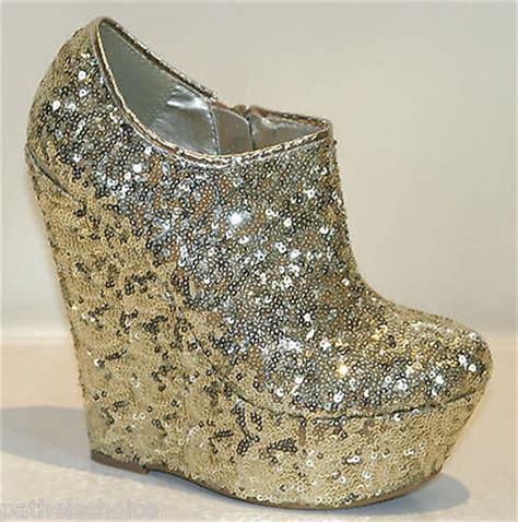 Boot Wedges Gliter Silekat gold sequin glitter platform high wedge heels ankle