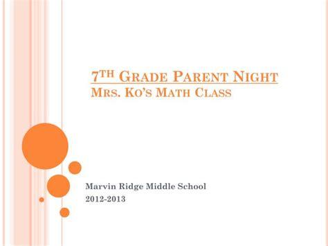 grade parent night  kos math class