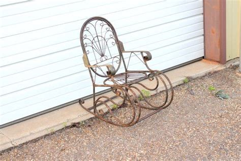 antique wrought iron rocking chairs vintage outdoor wrought iron metal childs rocking chair