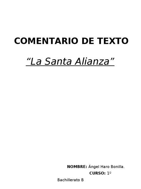 Comentario de Texto ( Santa Alianza) | Política | Agitación