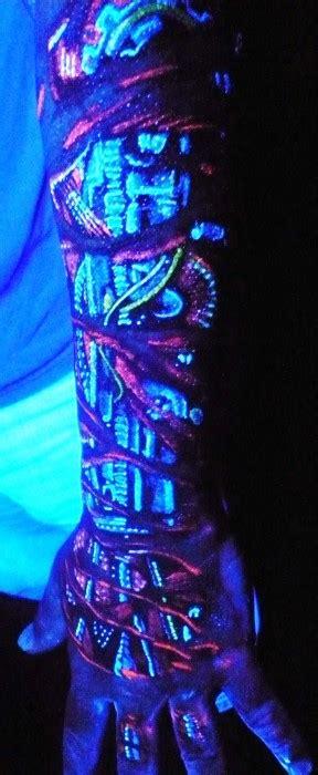 glow in the dark sleeve tattoo 60 glow in the dark tattoos for men uv black light ink