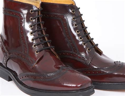 oxblood mens boots delicious junction skin mod brogue leather boot landslide