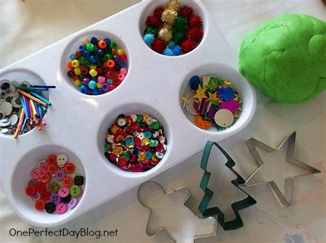 play dough xmas ornaments lovely open ended play dough activity set out cookie cutters and items to decorate