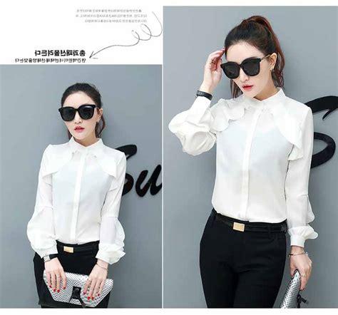 Baju Fashion Korea 2017 baju kerja putih polos modern 2017 myrosefashion