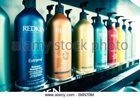 hair salon display cabinets hair products on a display cabinet in a hairdressing salon