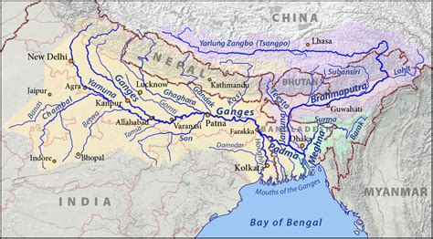 ganges river map list of rivers of india