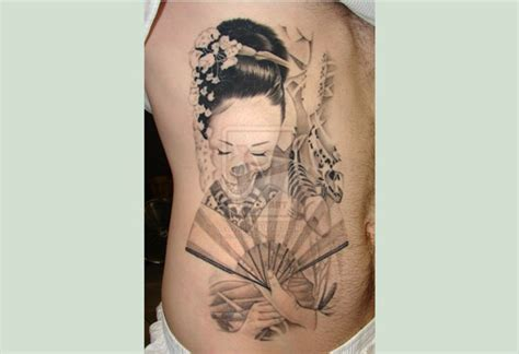 geisha tattoo designs for men rib side grey ink geisha