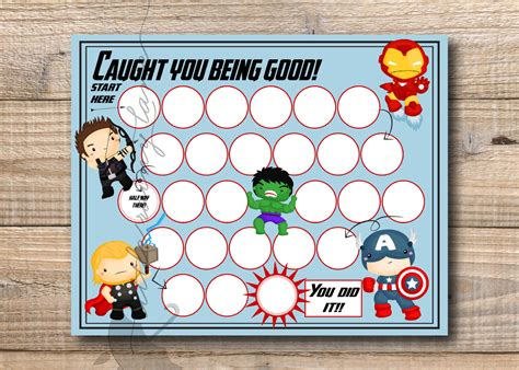 printable avengers reward charts reward chart super hero reward chart printable instant