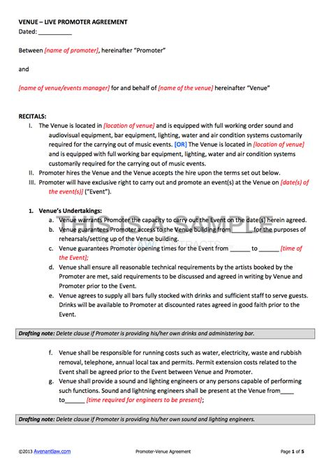 club promoter contract template promoter venue contract template