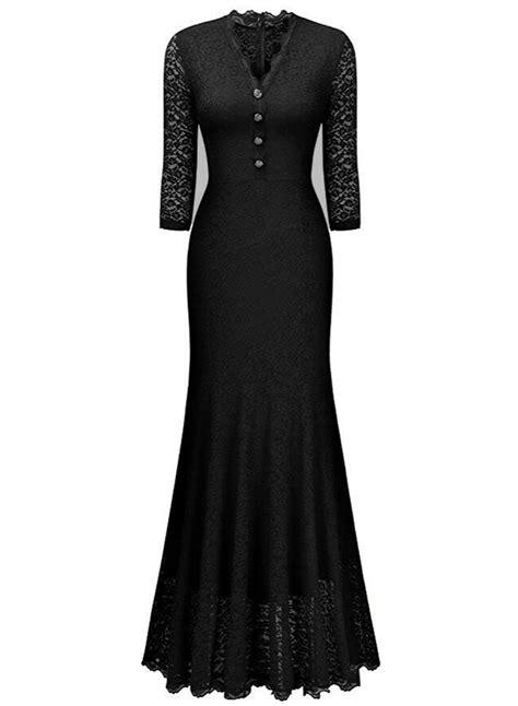 3 4 Sleeve Panel Dress v neck 3 4 sleeve lace panel maxi prom dress