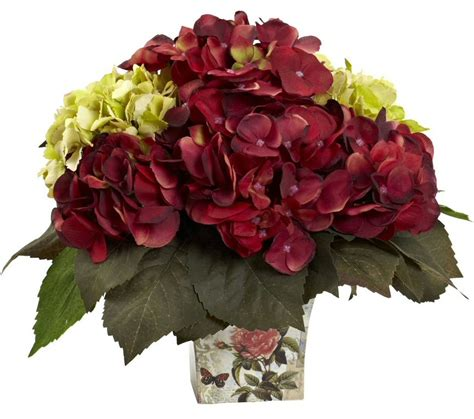 Silk Flower green and burgundy hydrangea silk flower arrangement