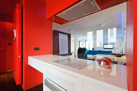red wall kitchen ideas quicua com city center apartment designed by hola design located in