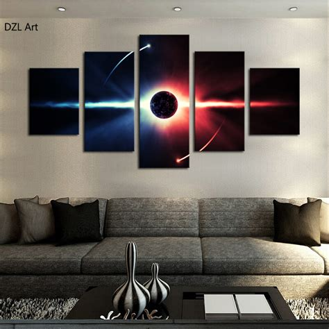 popular wall art for living room 5 pcs no frame large hd abstrac planet canvas print