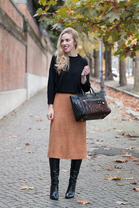 suede skirt dolman sweater camel midi skirt knee