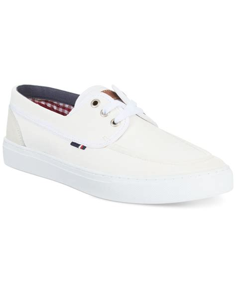 white hilfiger shoes lyst hilfiger mesa canvas boat shoes in white for