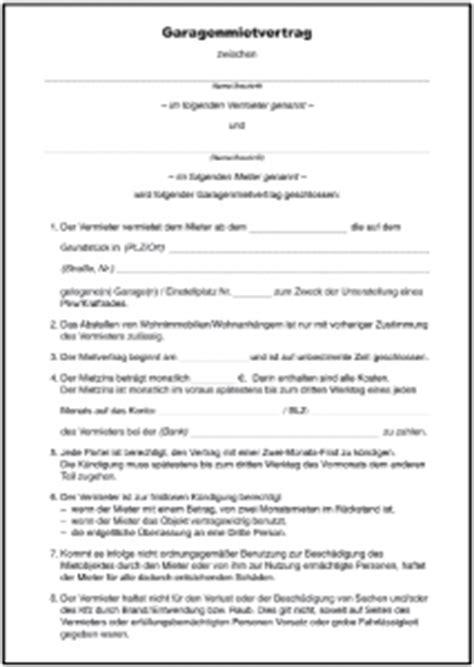 mietvertrag garage formulare gratis