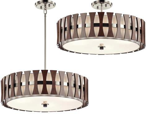 Kichler Lighting Company Kichler Cirus 5 Light Pendant Semi Flush Wood White Fabric Shade