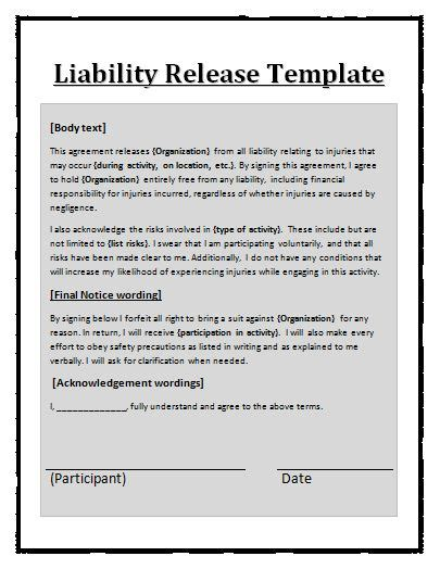 release of liability form template free release from liability form template free printable