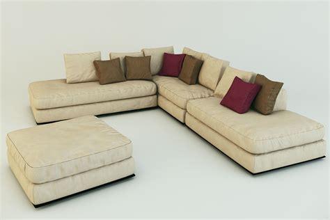 sofa pouffe corner sofa ekmi milan whith pouf 3d model max obj fbx