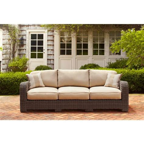 patio settee brown jordan northshore patio sofa with harvest cushions
