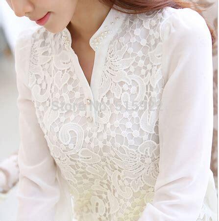 C058 Kemeja Blouse Sifon Putih Lengan Panjang 2015 baru kedatangan renda blus manik manik merenda kemeja sifon lengan panjang putih feminin