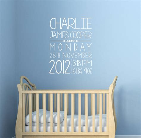 wall sticker baby personalised baby wall sticker by oakdene designs