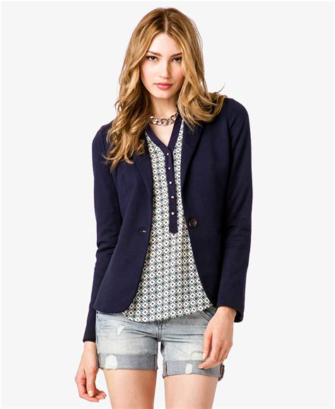 ponte knit lyst forever 21 contemporary ponte knit jacket in blue