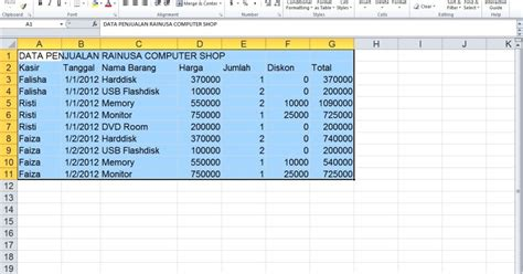 membuat database excel 2010 rainusa training centre membuat pivot table di ms excel 2010