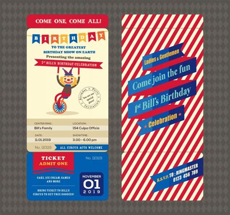Kostenlose Vorlage Geburtstagskarte Geburtstagskarte Mit Ticket Boarding Pass Stil Vorlage Der Kostenlosen Vektor
