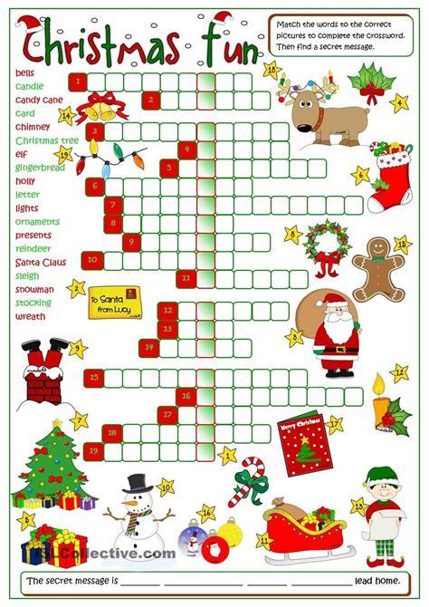 printable esl christmas games christmas fun crossword christmas pinterest