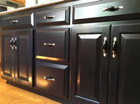 kitchen island transformation using black gel stain and