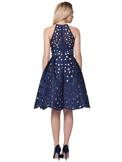 Midi Dress By Cherry Collect by Chi Chi Laser Cut Halter Midi Dress Navy House Of