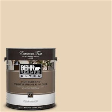 behr premium plus ultra 1 gal ppu7 18 sand pearl flat exterior paint 485001 the home depot