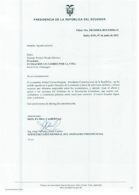 carta agradecimiento a funcavid presidente rafael correa