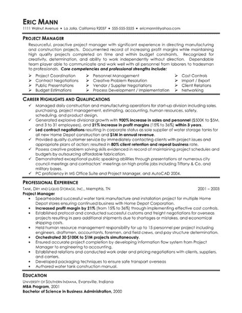 manufacturing project manager resume exle