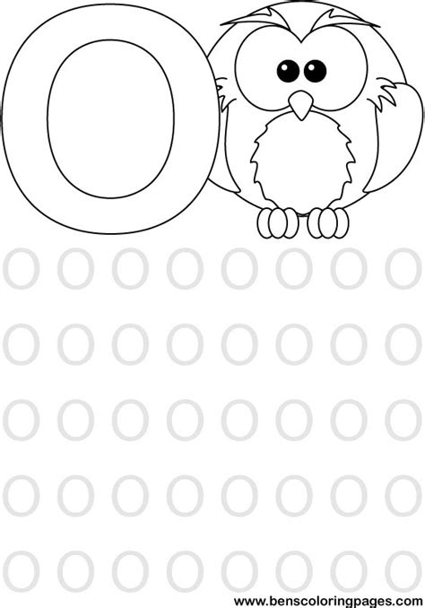 learning alphabet letter o preschool coloring page