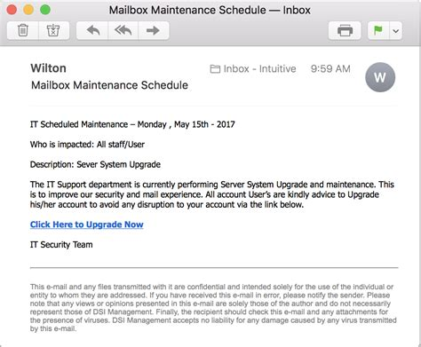 Mailbox Maintenance Schedule Email Scam Ask Dave Taylor Server Maintenance Email Template