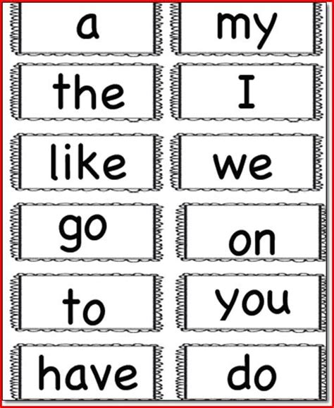 printable flash cards sight words for kindergarten kindergarten sight words flash cards kristal project