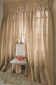 Smocked Burlap Curtains Pin By Stacie Kuklis Fourroux On Curtain Ideas To Make Our Own Pi
