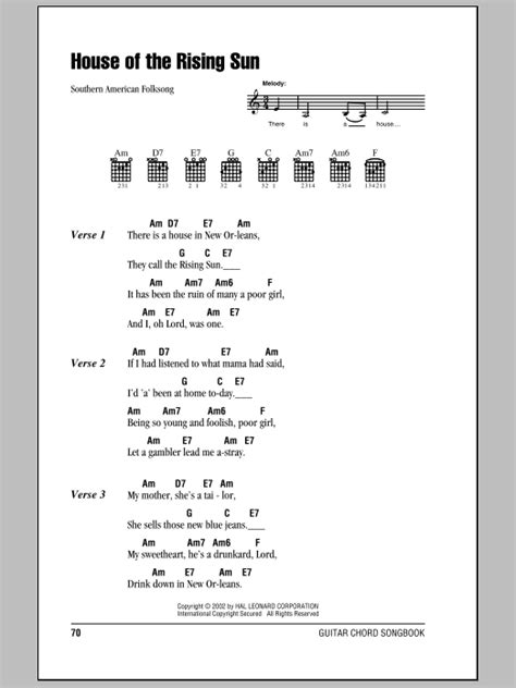 house of the rising sun ukulele chords house of the rising sun sheet music direct