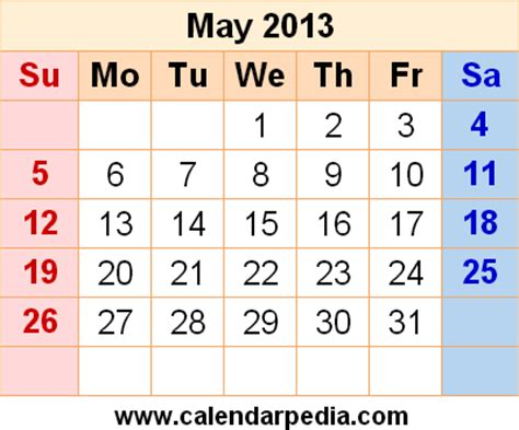 Calendar May 2013 May 2013 Calendars For Word Excel Pdf