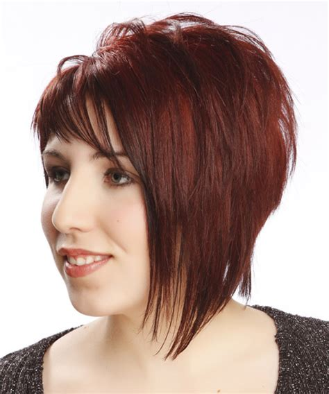 short hair with one side longer short straight alternative asymmetrical hairstyle with