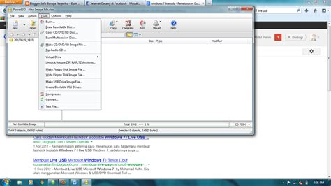 membuat bootable usb windows 7 iso membuat windows 7 live usb dengan power iso