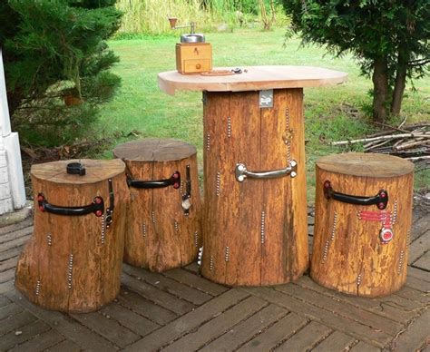 Garden Table And Stools by Garden Table And Stools Made Of Oak Logs The Best Wood