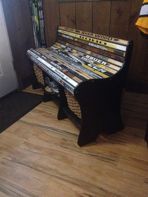 hockey bench hockey stick bench did it pinterest hockey sticks
