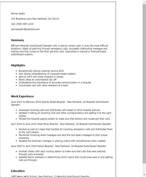 Customer Service Operator Cover Letter by Professional Hospital Switchboard Operator Templates To Showcase Your Talent Myperfectresume