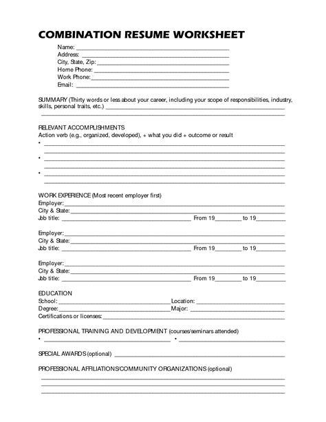 Resume Worksheet by 19 Best Images Of Resume Format Worksheet High School