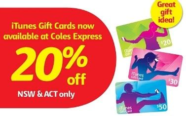 Coles Gift Cards Discount - coles express 20 off itunes gift cards nsw act only gift cards on sale